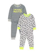 Snuggle Monster Pyjamas - 2 Pack