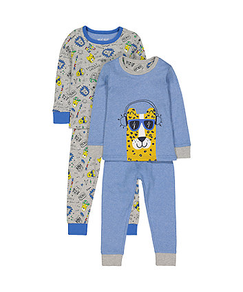 Blue And Grey Leopard Pyjamas - 2 Pack