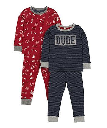 Navy And Burgundy Dude Pyjamas - 2 Pack