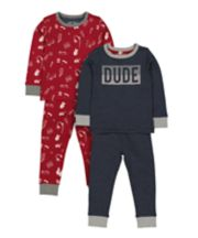 Navy And Burgundy Dude Pyjamas - 2 Pack