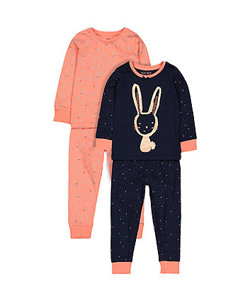 Bunny And Heart Pyjamas - 2 Pack