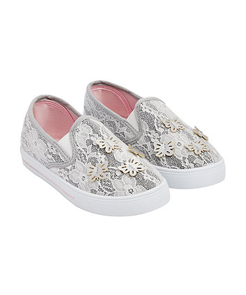 Mothercare Lace Butterfly Canvas Shoes