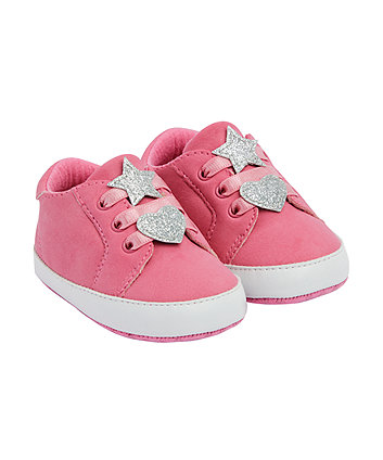 Mothercare Pink Heart And Star Canvas Pram Shoes