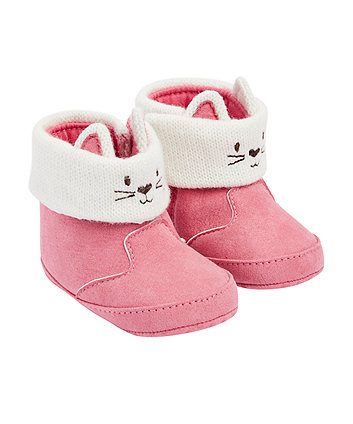 Mothercare Pink Cat Snug Boots