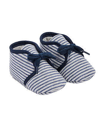 Mothercare Blue And Grey Stripe Shoes