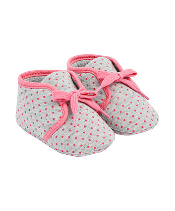 Mothercare Pink And Grey Spot Shoes