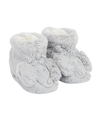 Mothercare Grey Fluffy Elephant Slippers