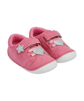 Mothercare Pink Star Crawler Pumps