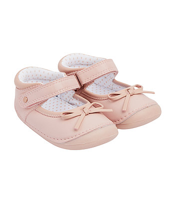 Mothercare Pink Bow Crawler Shoes