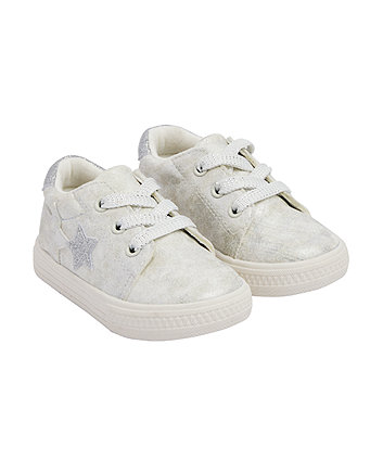 Mothercare Silver Sparkle Star Trainers