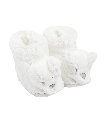 Mothercare White Fluffy Bear Slippers