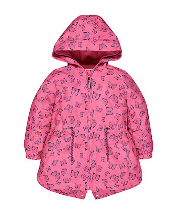 Pink Butterfly Fleece Lined Mac