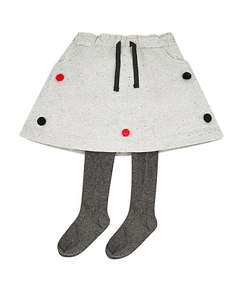 Grey Pom Pom Skirt With Tights