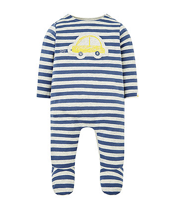 Mothercare Stripe Car All In One With Hat