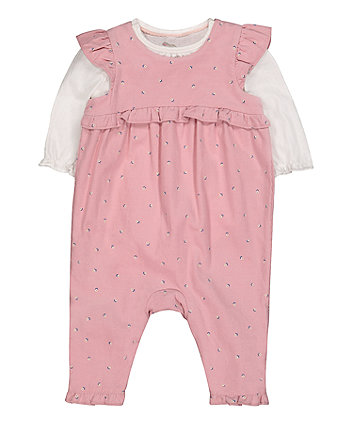 Mothercare Pink Cord Dungarees And Bodysuit Set