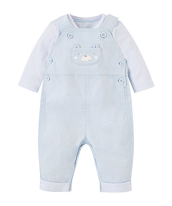 Cord Dungarees And Bodysuit Set