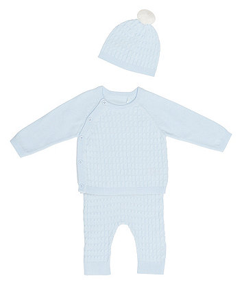 My First Blue Knit 3 Piece Set