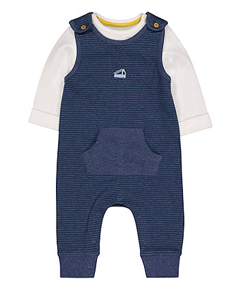 Mothercare Stripe Beep Beep Dungarees And Bodysuit Set