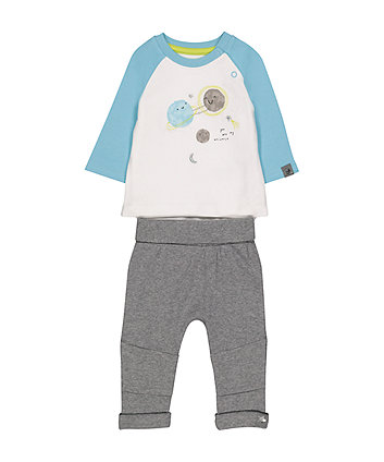 Mothercare Space Mock T-Shirt Bodysuit And Joggers Set