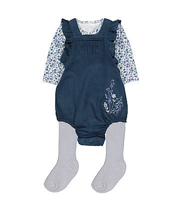 Mothercare Blue Floral Cord Bibshorts Three Piece Set