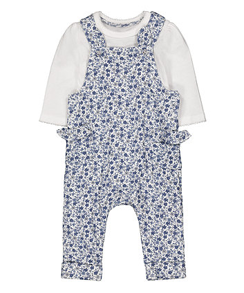 Mothercare Blue Floral Dungaree And Bodysuit Set