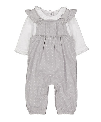 Mothercare Grey Spot Cord Dungarees And Bodysuit