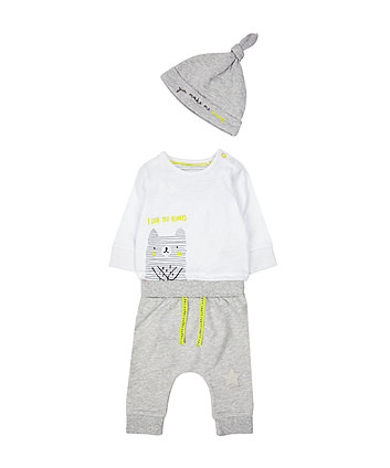 Grey Bear Bodysuit, Jogger And Hat Set