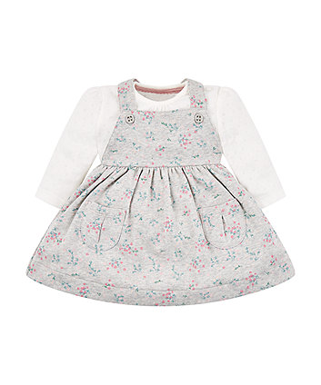 Mothercare Grey Floral Pinny Dress And Bodysuit Set