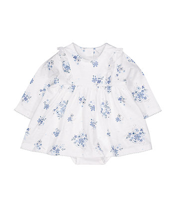 Mothercare White And Blue Floral Romper Dress
