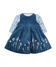 Mothercare Navy Floral Cord Pinny Dress And Bodysuit Set