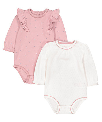 Floral Frill And Pointelle Bodysuits - 2 Pack
