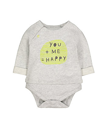 Grey Happy Mock Top Bodysuit