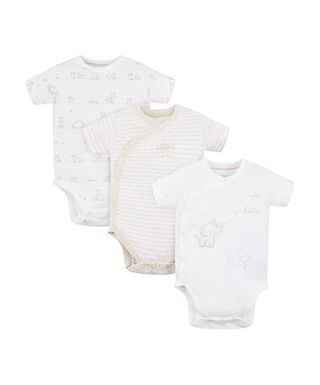 My First Elephant Wrap Opening Bodysuits - 3 Pack