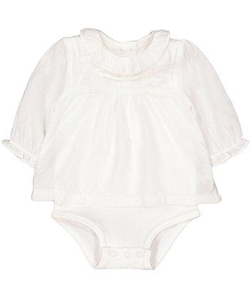 Mothercare Mock Dobby Blouse Bodysuit
