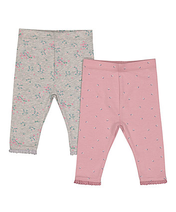 Mothercare Pink And Grey Floral Leggings - 2 Pack