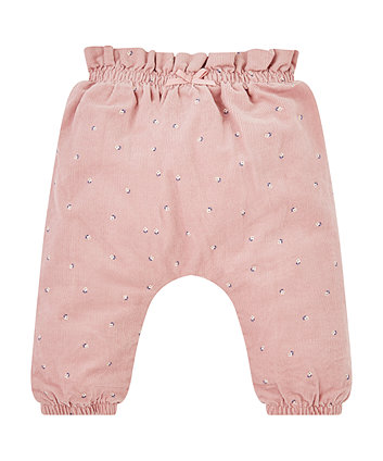 Pink Floral Cord Trousers