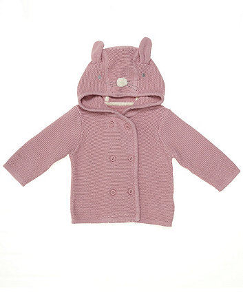 Mothercare Pink Bunny Knitted Hooded Cardigan