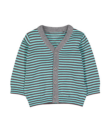 Mothercare Blue And Grey Stripe Cardigan