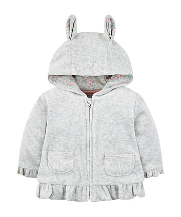 Mothercare Grey Velour Zip Through Hoodie