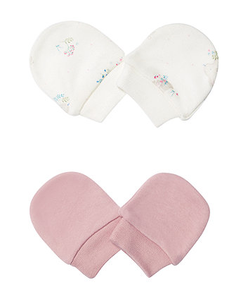Mothercare Pink And Cream Scratch Mitts - 2 Pack