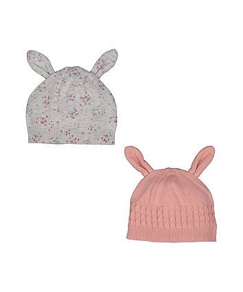 Mothercare Pink And Grey Knitted Bunny Hats - 2 Pack