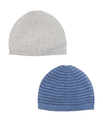 Grey And Striped Knitted Hats - 2 Pack