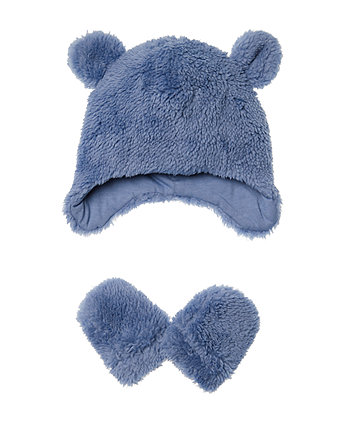 Mothercare Blue Fluffy Hat And Mitts Set