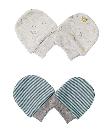 Mothercare Space Stripe Mitts - 2 Pack