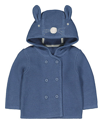 Mothercare Blue Bunny Knitted Hoodie
