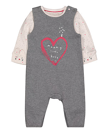Mothercare Grey Heart Dungarees And Bodysuit Set