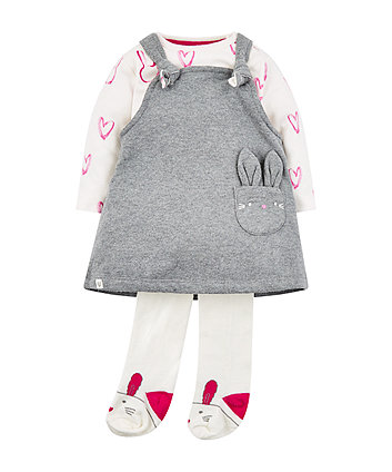 Mothercare Bunny Pinny Dress Three Piece Set