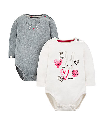 Mothercare Bunny Heart Bodysuits - 2 Pack