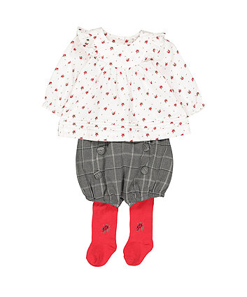 Mothercare Heritage Rose Shorts, Blouse And Tights Set