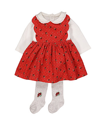 Mothercare Heritage Red Floral Cord Pinny Dress Set
